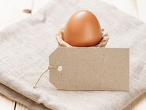 Brown egg in handmade holder Royalty Free Stock Image