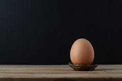 Brown Egg in Nest on Wooden Table with Black Background Royalty Free Stock Images