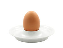 Brown Egg in a White Eggcup Royalty Free Stock Photos