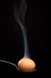 Brown egg wrapped in smoke in spoon. Brown egg wrapped in smoke in silver spoon Royalty Free Stock Images