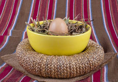 Egg yellow soup plate straw Royalty Free Stock Photo