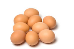Brown eggs. A group of brown eggs on white background Royalty Free Stock Photography