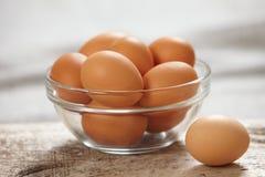 Brown eggs. Fresh brown eggs in bowl Stock Photos