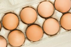 Brown eggs. In a package Stock Photography
