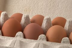 Brown eggs. In the box Stock Photo