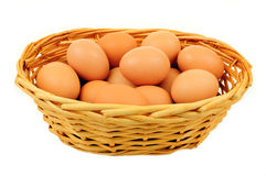 Brown eggs in basket Royalty Free Stock Photography