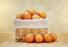 Brown eggs in basket Stock Photo