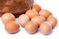 Brown eggs in basket. Close up of brown eggs in basket Royalty Free Stock Photo
