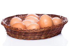 Brown eggs in basket Royalty Free Stock Image