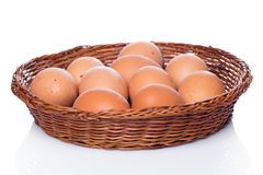 Brown eggs in basket Royalty Free Stock Photos