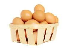 Eggs in a basket. Brown eggs in a basket isolated on white Royalty Free Stock Photo