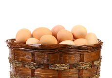 Brown eggs in the basket. Isolated on a white background royalty free stock photo