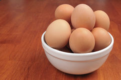 Brown Eggs in a bowl Stock Photos