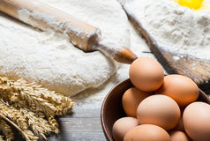 Brown eggs in a bowl close up Stock Photography