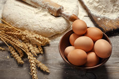 Brown eggs in a bowl close up in a bakery Royalty Free Stock Photo