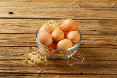 Brown eggs in a bowl. Brown eggs in a glass bowl Stock Photos