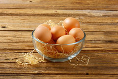 Brown eggs in a bowl. Brown eggs in a glass bowl Stock Images