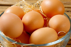 Brown eggs in a bowl. Brown eggs in a glass bowl Stock Photo