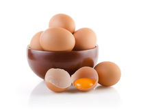 Brown Eggs in a bowl Stock Photo