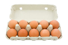 Brown eggs in the box. Stock Photography