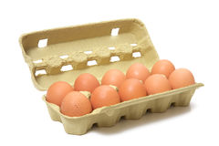 Brown eggs in box Royalty Free Stock Images