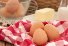 Brown Eggs with Butter and Milk for Cooking Royalty Free Stock Photo
