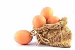 Brown eggs in canvas sack Stock Images