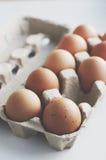 Brown eggs in cardboard box. Brown eggs in craft cardboard box Stock Photography