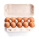 Brown eggs in a carton box  on white Stock Photography