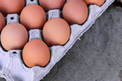 Brown Eggs in Carton. On wood Royalty Free Stock Image