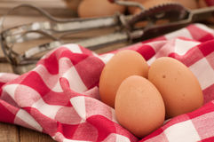 Brown Eggs in Country Kitchen Setting Royalty Free Stock Photography