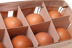 Brown eggs in eco-box Royalty Free Stock Images