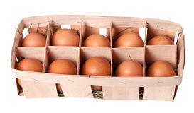 Brown eggs in eco box Royalty Free Stock Images