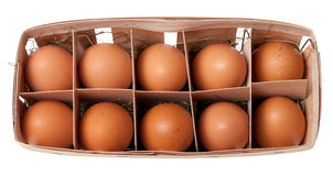 Brown eggs in eco-box Royalty Free Stock Photography