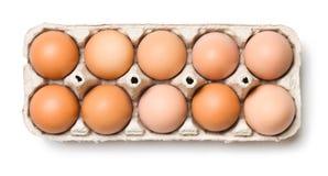 Brown eggs in egg box Stock Photo