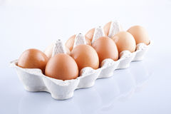 The brown eggs in egg box Royalty Free Stock Photo