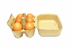 The brown eggs in egg box Stock Images