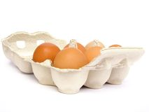 Brown eggs in an egg carton. Six brown eggs in a beige egg carton with open lid royalty free stock photos