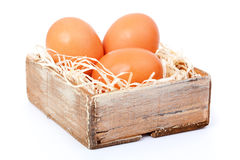 Brown eggs at hay Royalty Free Stock Image