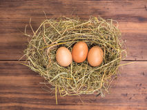 Brown eggs in hay nest. Rural eco background with brown chicken eggs and straw on the background of old wooden planks Royalty Free Stock Image