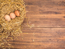 Brown eggs in hay nest. Rural eco background with brown chicken eggs and straw on the background of old wooden planks Royalty Free Stock Photo