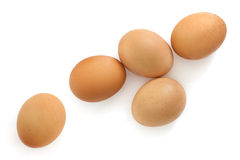 Brown Eggs Isolated on White Overhead View Royalty Free Stock Photography