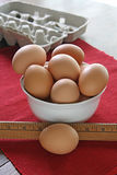 Brown Eggs. Large brown eggs in white bowl Stock Photo