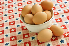 Brown Eggs. Large brown eggs in white bowl Stock Photos