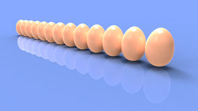 Brown eggs in line on blue background. Stock Image