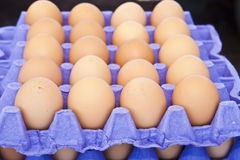 Brown eggs at outdoor farmer's market Royalty Free Stock Photo