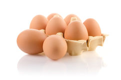 Brown eggs in the package Royalty Free Stock Photography