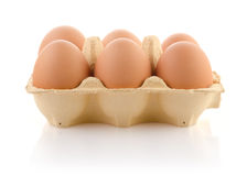 Brown eggs in the package Stock Photography