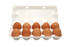 Brown eggs in packing Royalty Free Stock Photos