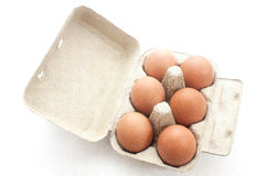 Brown eggs in packing for eggs Royalty Free Stock Images